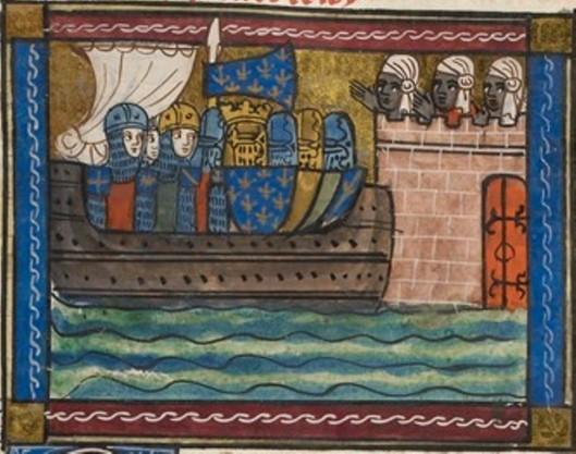 """Jeanne de Montbaston, Crociati e musulmani - miniatura dall' """"Historia de Proeliis"""", Francia, inizio XIV sec. - Londra, BL."""