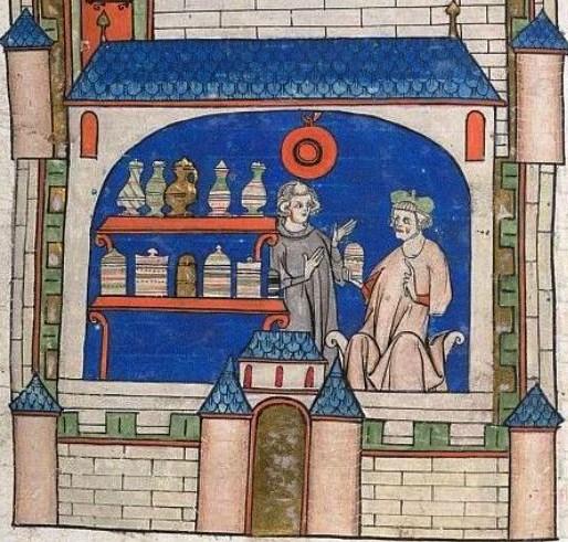 fig. 20 - Una Farmacia medievale dove si vendeva anche la triaca (dalla Rogerina).