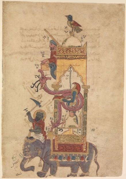 """Farrukh ibn `Abd al-Latif - l'orologio a elefante - miniatura dal """"Compendio sulla Teoria e sulla Pratica delle Arti Meccaniche"""" di al-Jazari, Siria, inizio XIII sec. - New York, MET Museum."""