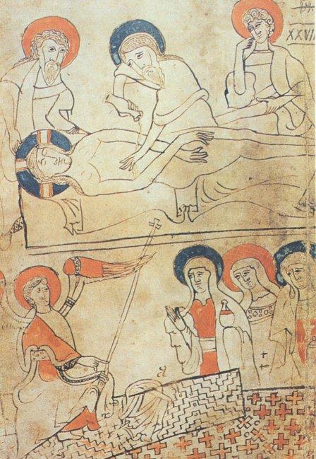 Deposizione e sepoltura - miniatura dal Codex Pray di Budapest - 1193.