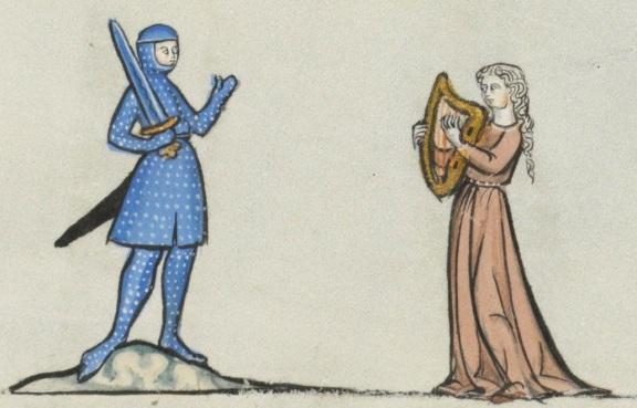 """Cavaliere e fanciulla che suona - miniatura dalla """"Biblia Porta"""", XIII sec. - Losanna."""
