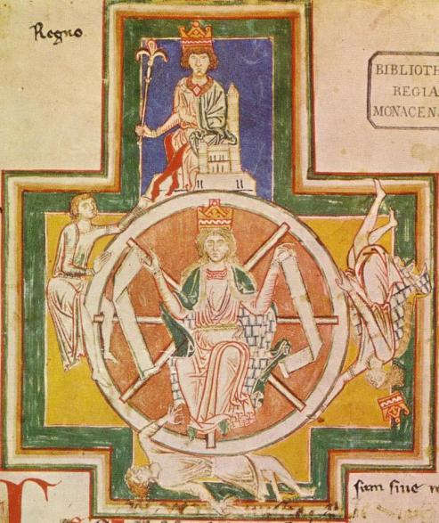 La Ruota della Fortuna - miniatura dal Codex Buranus, 1230 ca. - Monaco, Bayerische Staatsbibliothek