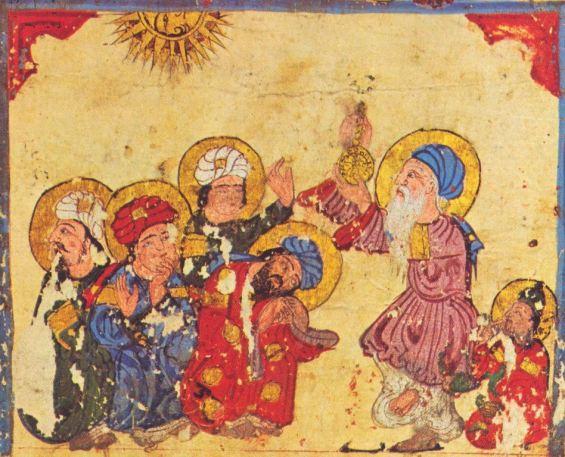 Alhazen insegna ai suoi discepoli - miniatura dal Makhluqat di al-Hariri, XIV secolo