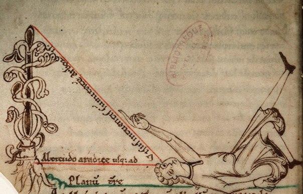 Calcolo dell'altezza degli oggetti - miniatura da Trattato di astronomia e geometria, Mont-Saint-Michel, metà XII sec. Avranches, Bibliothèque municipale.
