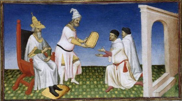 "Kubilaï Khan dona la tavoletta salvacondotto a Marco Polo - miniatura da ""Il Milione"", Parigi, 1410-1412 - Parigi, BnF."